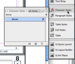 "1. Select ""Character Styles"" from your dock (or go to ""Type -> Character Styles"")"
