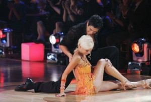 "Holly Madison and Dmitry Chaplin dance in the first episode of season eight of ""Dancing With the Stars."""